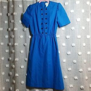 Vintage 70's 80's Leslie Faye Faux Button Dress 6